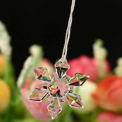 Christmas Snowflakes Crystal Ornaments Party Xmas Tree Hanging Decorations MP
