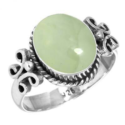 Natural Prehnite Ring 925 Sterling Silver Handmade Jewelry Size 5 GK78334