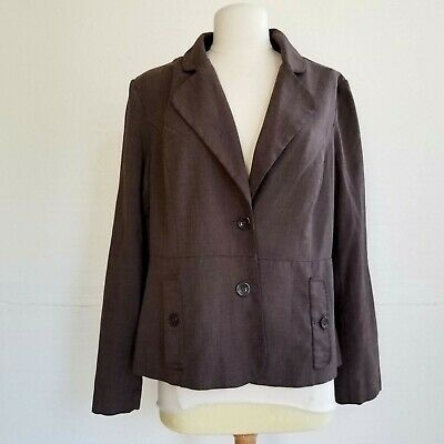 Harve Bernard sz 12 Blazer Suit Jacket Brown Lined Womens Office business career