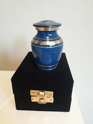 """Memorial Keepsake Cremation Ashes Urn 2.5"""" Small - Blue with Gold Coloured trim"""