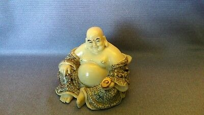 Vtg Chinese Japanese Hand Painted Engraved Happy BUDDHIST Statue Resin Figurine