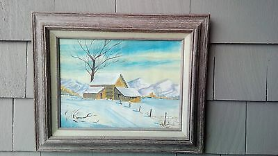 VINTAGE COUNTRY WINTER SCENE OIL PAINTING HOUSE BARN HILLS SNOW 1950's SIGNED