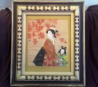 Antique Vtg Chinese Japanese Mother & Child Original Painting on Silk Signed