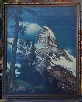 ANTIQUE VTG MATTERHORN SWISS ALPS Framed LANDSCAPE OIL PAINTING  Canvas ~GREAT!