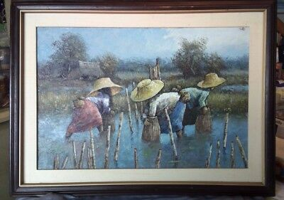Signed Painting Asia Orient Thailand Chunky Oil Landscape Impressionism Vtg