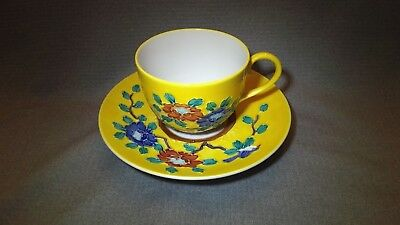 Antique Chinese Signed Hand Painted Porcelain Tea Cup With Saucer Bird Yellow