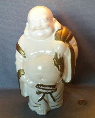 """Vintage Large Chinese Porcelain """"Happy Laughing Buddha """" White And Golden 9.75"""""""