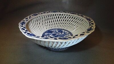 "ANTIQUE CHINESE BLUE & WHITE PORCELAIN Lattice Basket 8.5"" round circle mark"