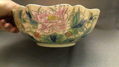 CHINESE REPUBLIC PERIOD PORCELAIN MARKED BOWL WITH PAINTED FLORAL  DECOR 20thC