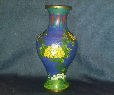 Antique VTG Chinese Cloisonne Vase Enamel Floral Design Brass Royal Blue marked