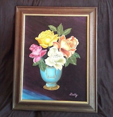 Vintage Flowers In Vase Still Life Oil Painting by DOLLY Frame Original