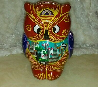 Funky Vintage Cross Eyed Owl Terra/Pottery/Ceramic Bank Hand Painted Mexico?