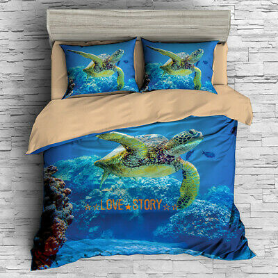 Quilt/Doona/Duvet Cover Set Single/Double/Queen/King Bed Pillowcase Sea Turtle
