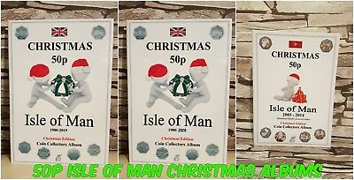 50p Isle of Man: CHRISTMAS Coin Album - with Mintage! JB Album - coins excluded