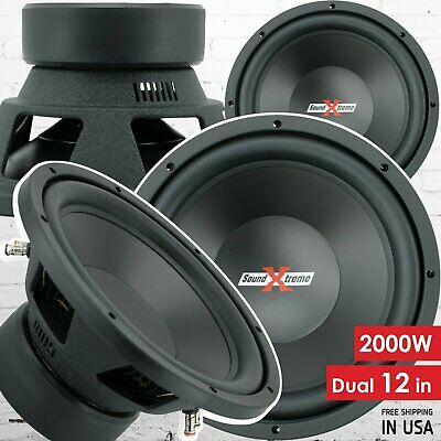 Pair of SoundXtreme 12 Inch 2000 Watt Car Audio Subwoofer with DVC Power (2 Sub)