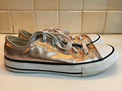Converse All Star, Gold / Rose Gold Shiny Trainers. Size Uk 2, Eur 34