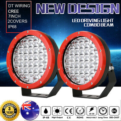 New 7 Inch Round LED Driving Lights Offroad Spot flood Combo 4x4 Headlight Red