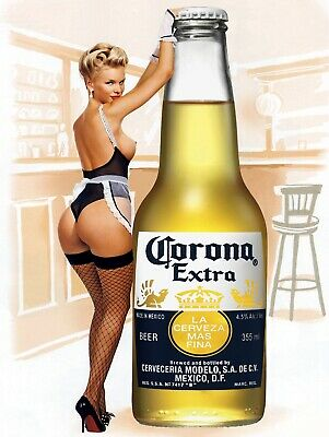 Corona Extra Pin Up, retro vintage style metal sign/plaque man cave shed bar pub