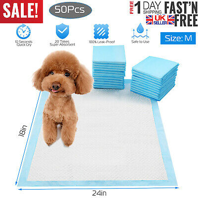 50 Large Puppy Pads Dog Pet Toilet House Training 60x45cm Wee Potty Pee Mat Cat