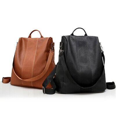 Women PU Leather Backpack Campus Book Bag Patchwork Casual Anti-Theft Backpacks
