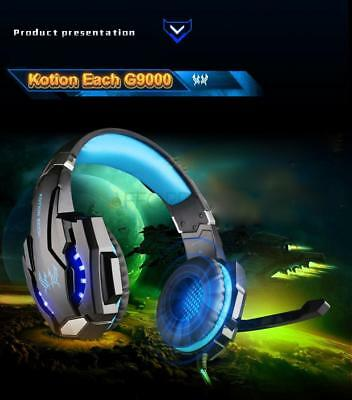 EACH G9000 3.5mm Stereo Gaming Headset USB LED Headphone with Mic for PC Laptop