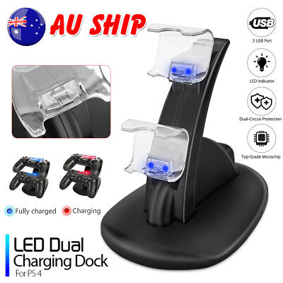 PlayStation PS4 Controller Charger Dock Station Dual LED USB Fast Charging Stand