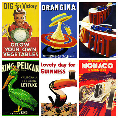 Vintage Advertisement Posters A4 Vol. 1 - Retro Art Deco Nouveau Classic Prints