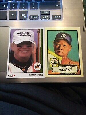 2 Donald Trump make america great again, 1952 topps style custom aceo cards