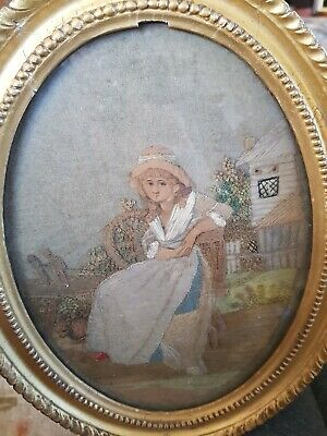 Antique Victorian Embroidery  Oval Gilt Frame
