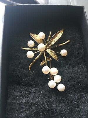 Stunning 14K And Pearl Estate Brooch