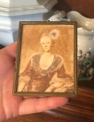 Antique French Georgian Miniature Hand Painted Portrait Brass Frame