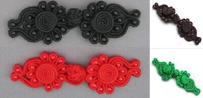 1 Pair Beaded Frog Fastener Closure Button Available Colour Black  #S2