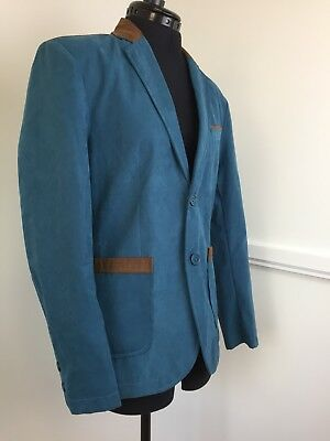 Men's Jacket Turquoise Fabric & Tan Faux Leather Lightweight Fully Lined Large