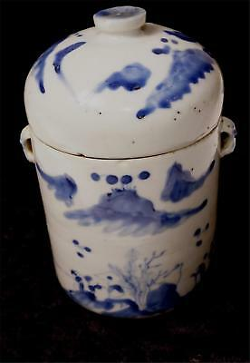 Chinese Ming Handpainted Porcelain Storage Jar With 2 Lids
