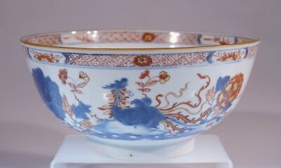 ASIAN ANTIQUE Chinese HANDPAINTED PORCELAIN BOWL WITH DRAGON DESIGNS