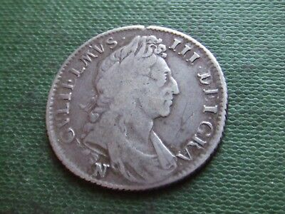 William Iii   1697,N.  Silver Shilling. Norwich Mint.  Rare.   Nice Condition.