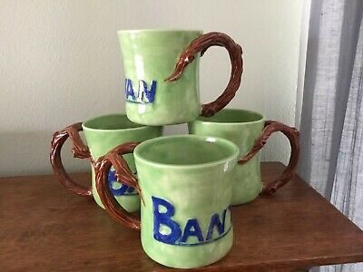 Four Hand Made Lime Green Pottery Mugs With Twig Handles Blue Banyan Letters