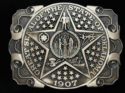 QB05144 *NOS* VINTAGE 1970s **OKLAHOMA STATE SEAL** SOLID BRASS BELT BUCKLE