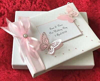 Large Personalised Wedding Birthday Butterfly Photo Album Luxury Boxed Pink