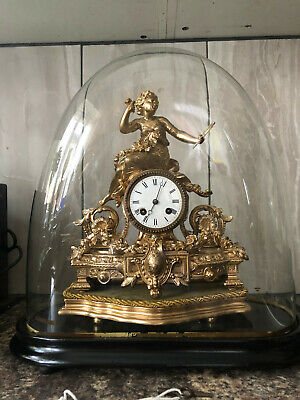 Japy Freres - Antique Clock - French Spelter Figural Clock with Glass Dome