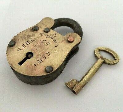 Old Vintage Lock Solid Brass Iron Small Padlock Strong Collectible Rear Shape