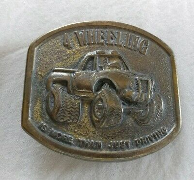 4 Four Wheeling Truck Motor Sports Brass Colored Finish Vintage Belt Buckle