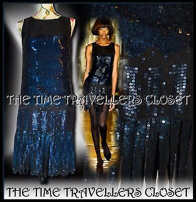 KATE MOSS TOPSHOP BLACK BLUE SEQUIN STRAND FLAPPER DRESS VTG ROARING 20s UK 6 8