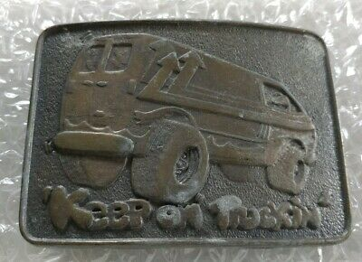 Keep On Truckin' Trucking Hippie Van Truck Brass Colored Vintage Belt Buckle