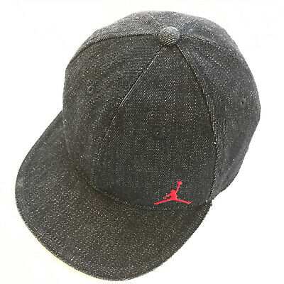 108eb1f9a5f7 Nike Air Jordan Black Denim Red Jump Man Fitted Baseball Cap Plaid Brim Hat ~SZ
