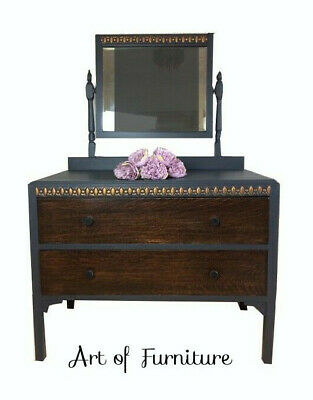 Antique Victorian Chest of drawers Dressing Table & mirror hand painted Upcycled