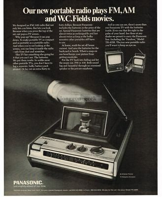 1970 PANASONIC Portable AM/FM Radio Pop-Up TV W.C. FIELDS VTG PRINT AD