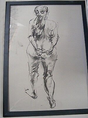 Figure life drawing nude expressive, charcoal, woman standing back A1/A2 size @