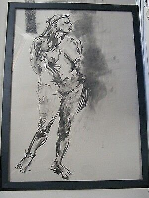 Figure life drawing nude expressive, charcoal/paper, woman standing A1/A2 size @