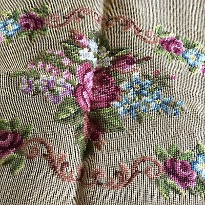 Antique vtg needlepoint canvas prework wool floral VICTORIAN bench seat cover